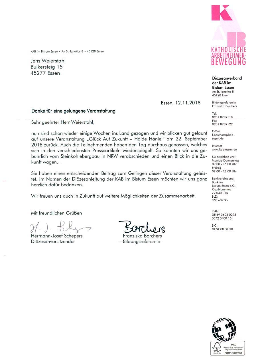 Dankschreiben KAB Bistum Essen